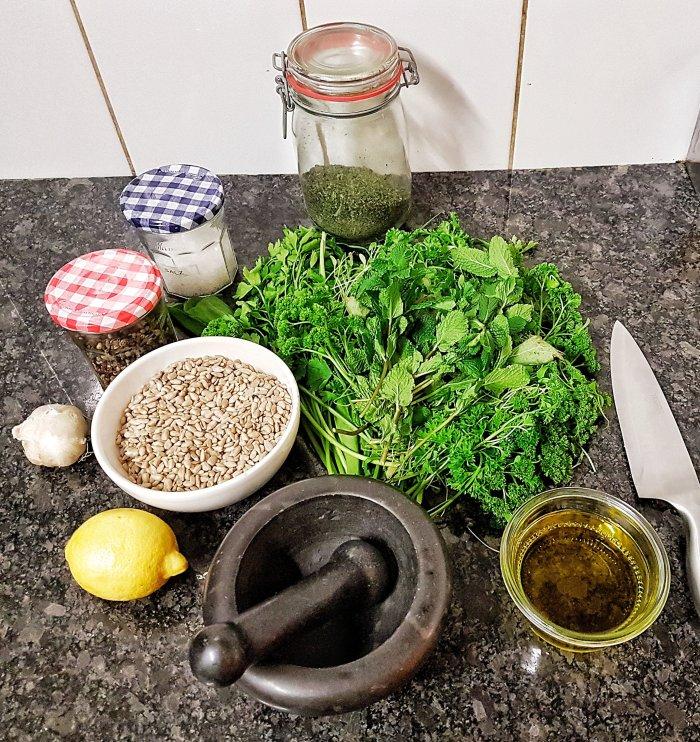 Veganes Frankfurter Grüne Soße Pesto Zutaten